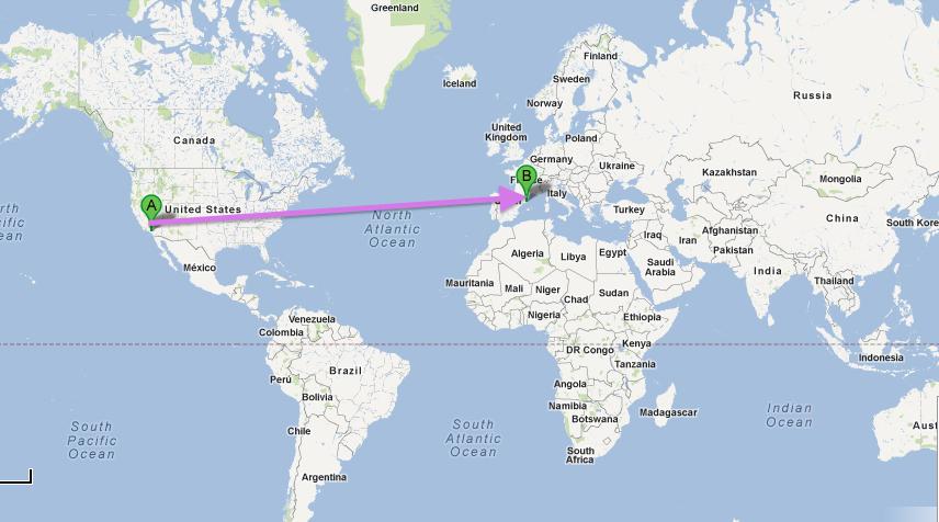 California-Spain-trip-route