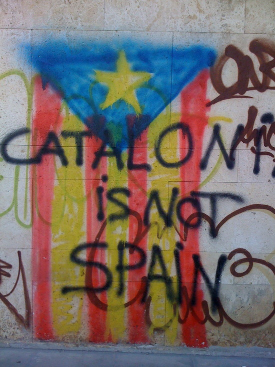 Catalan-flag-graffiti-Catalonia-is-not-Spain
